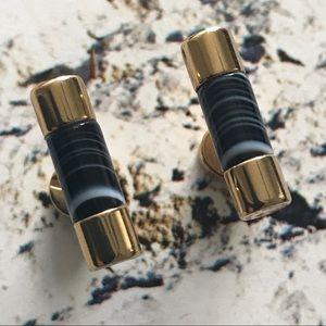 Michael Kors Black Agate Barrel Bar Stud Earrings